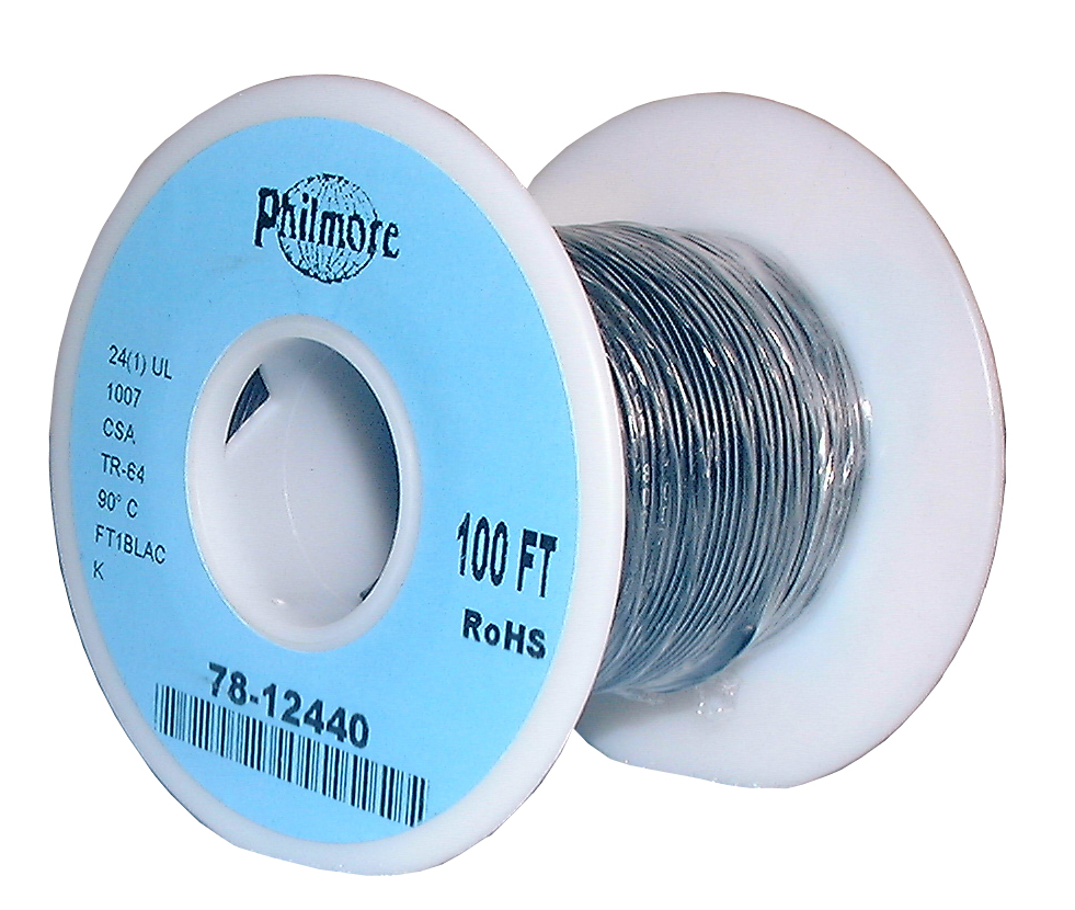 SOLID COPPER-24 AWG-100'-BLACK